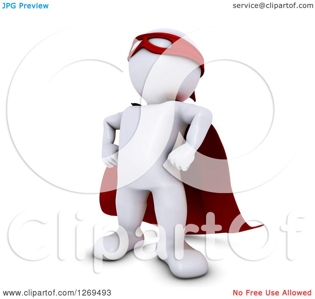 Clipart of a 3d White Man Super Hero.