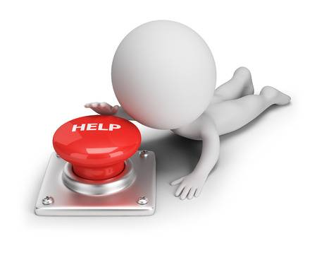 3d Small Person Reaches For Help Button. 3d Image. White Backg.