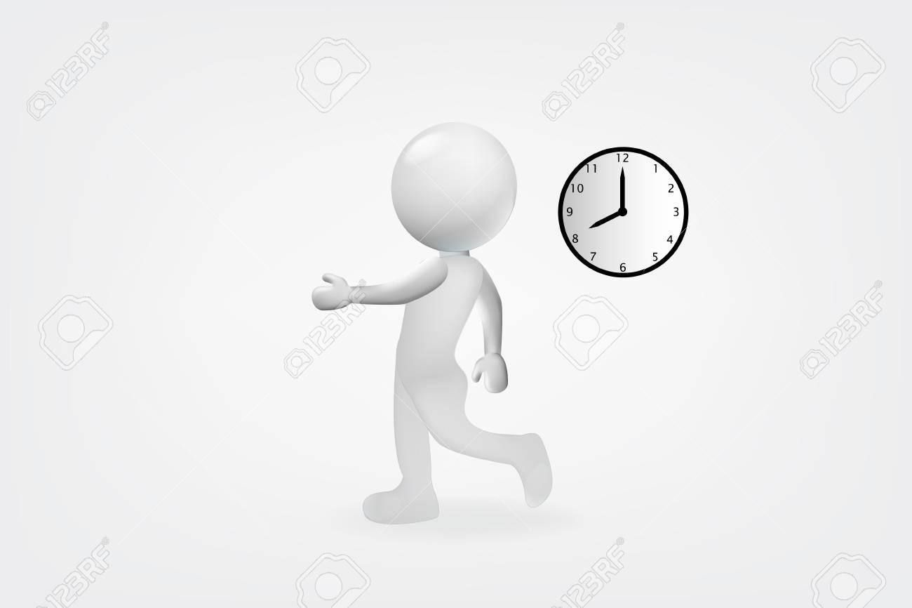 3d white man late to work design vector logo.