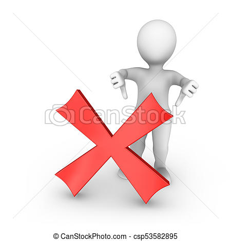 3d white man with negative symbol shows thumbs down.
