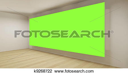 Clip Art of Clean room with green chroma key backdrop, 3d art.