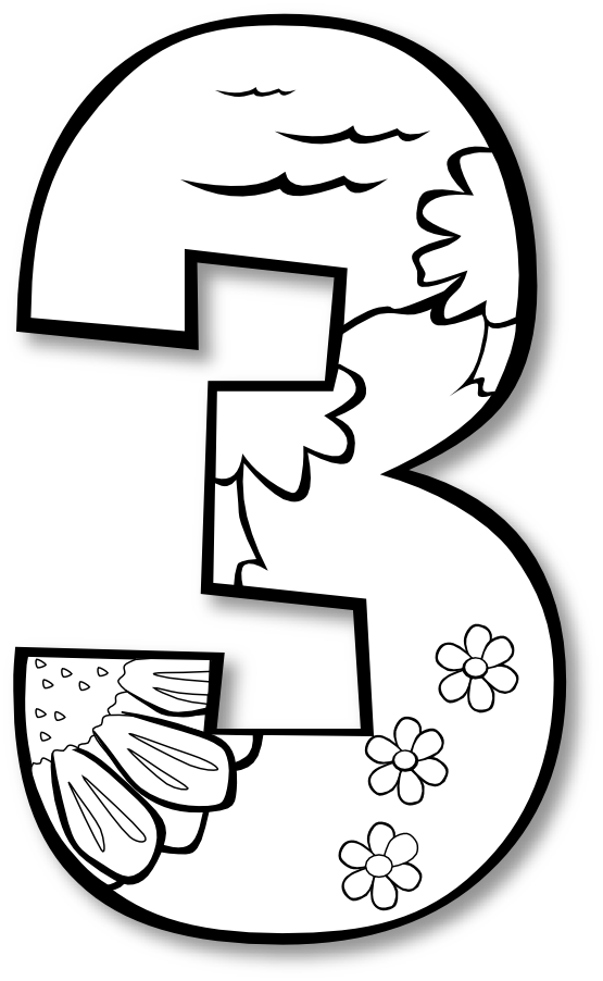 number 3 coloring pages. Number 3rd clipart black and white  number 4 coloring sheets Clipground