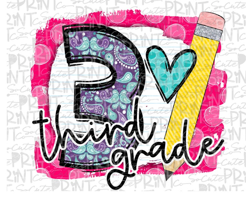 Back to school, Third grade clipart, PNG file for sublimation, first day of  school, printable, 3rd grade printable, hello third grade.
