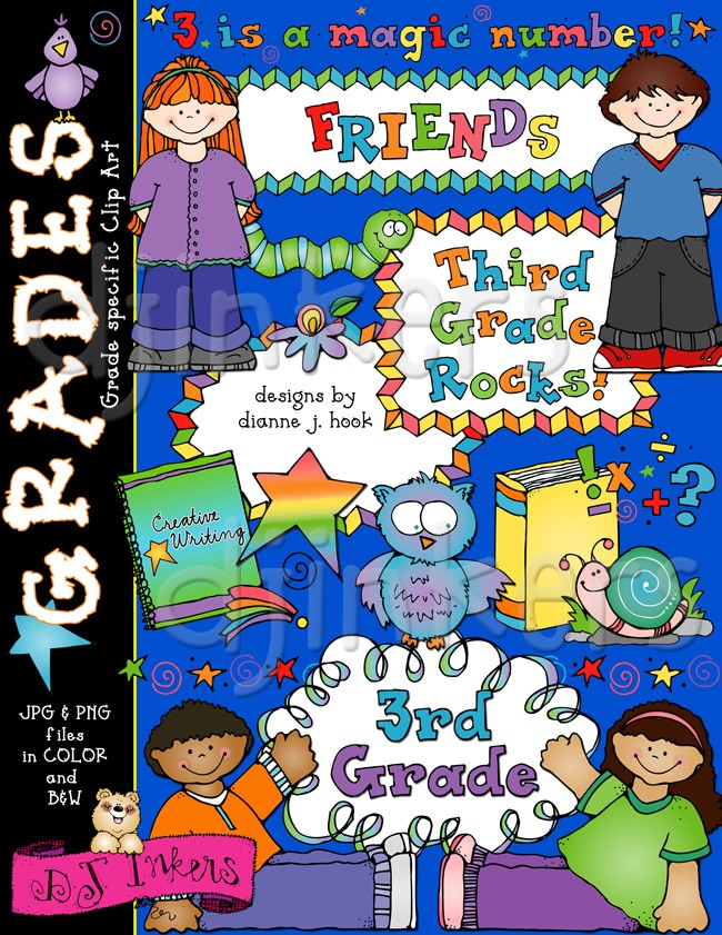 Cute Clip Art for 3rd Grade Smiles at School by DJ Inkers.