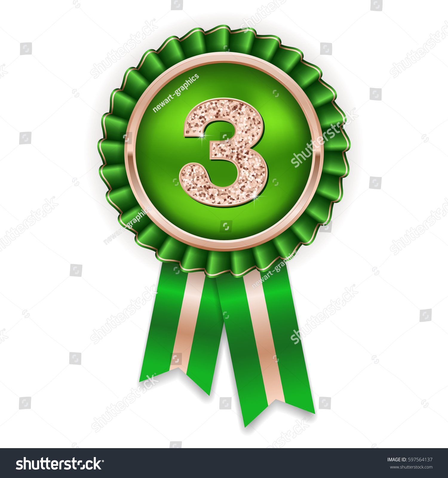 Bronze 3rd Place Rosette Badge Green Stock Vector (Royalty Free.