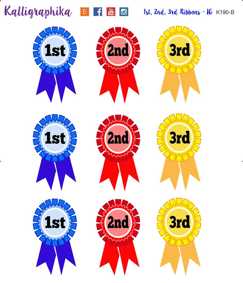 1st, 2nd and 3rd place ribbon stickers.