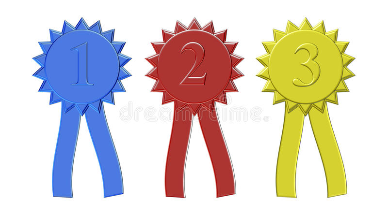 First Second Third Place Ribbons Stock Illustrations.