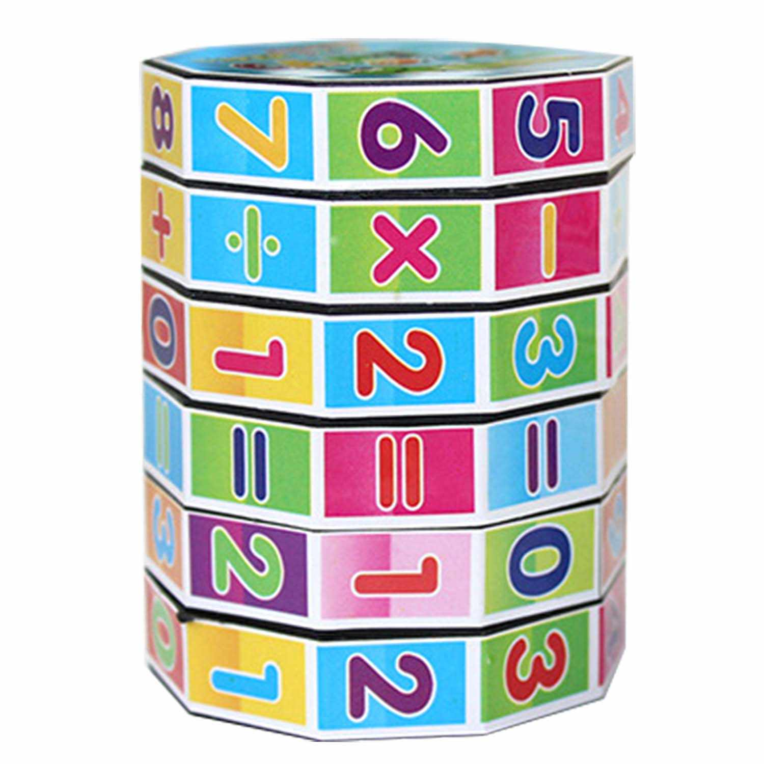 Cartoon Colorful 6 Layers Mathematics Numbers Cube Sliding Puzzle Cube  Numbers and Signs Fun Education Learning Math Toy.