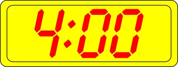 Digital Clock 4:00 clip art Free vector in Open office.
