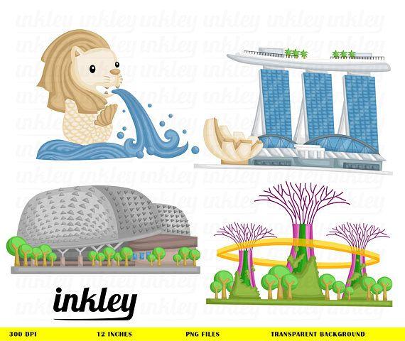 This Listing is for 4 cute Singapore Landmark design.