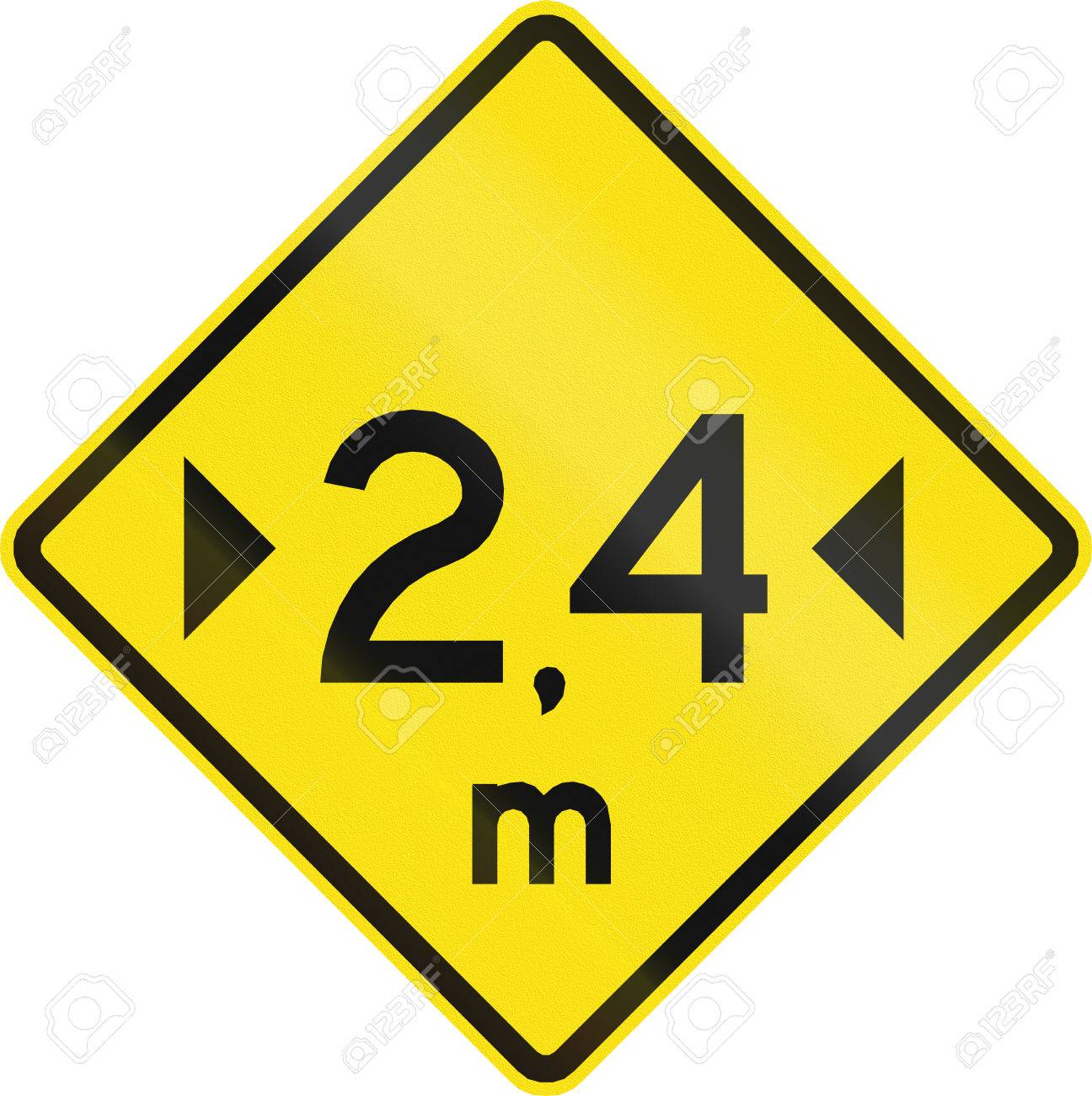 Warning Road Sign In Chile: Width Restriction Ahead (2,4 Meters.
