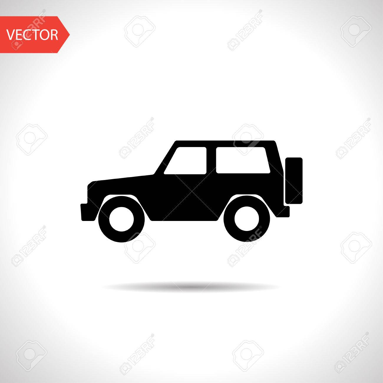 vector flat black icon of 4 wheel drive.