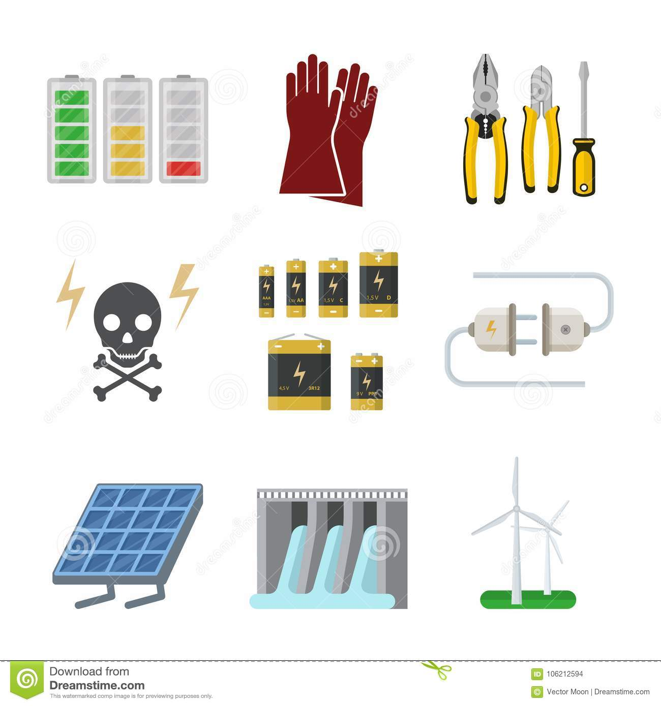 Energy Electricity Vector Power Icons Battery Illustration.