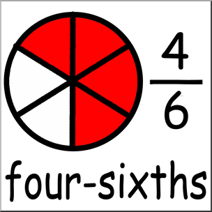 Clip Art: Labeled Fractions: 06 4/6 Four Sixths Color I.