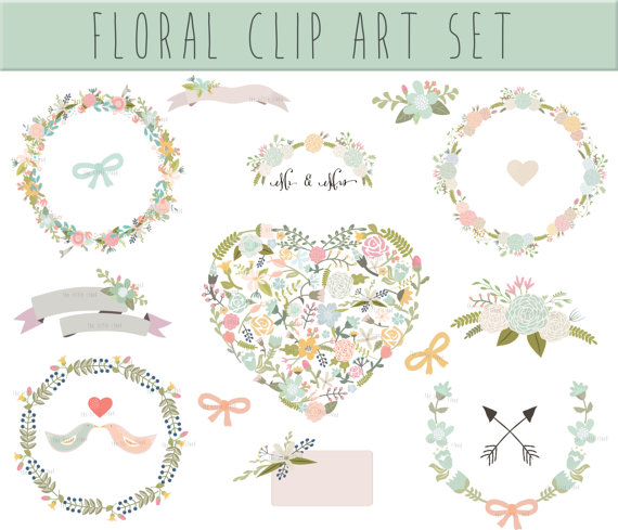 Wedding Floral clipart, Digital Wreath, Floral Frames.