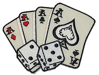 Poker Hand 4 Aces Lucky 7 Dice Embroidered iron on.