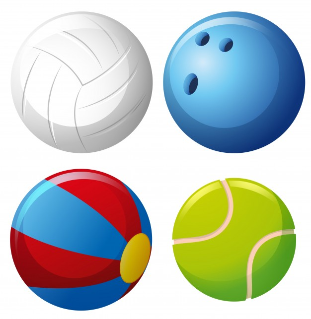 Four types of balls Vector.