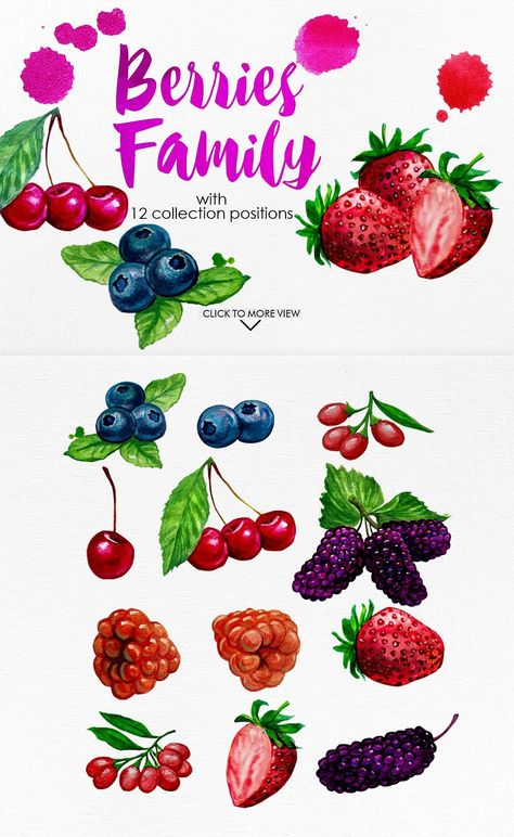 Watercolor Fruits Vol. 4 by iGRAPHOBIA on @creativemarket.