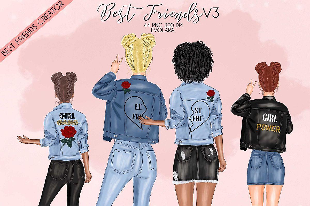 Best Friends Clipart Custom Besties Denim Jackets Clipart.