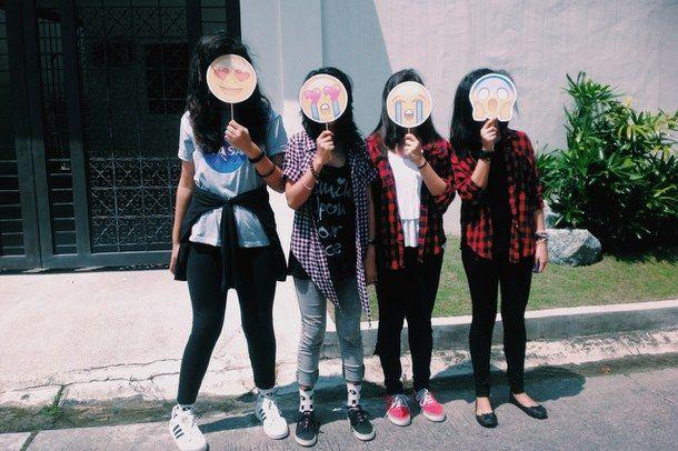 4 girls, best friend, bestfriends, emoji, fashion.