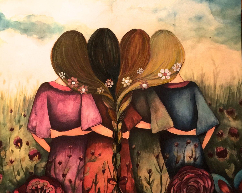 4 Girl Best Friends Clipart.