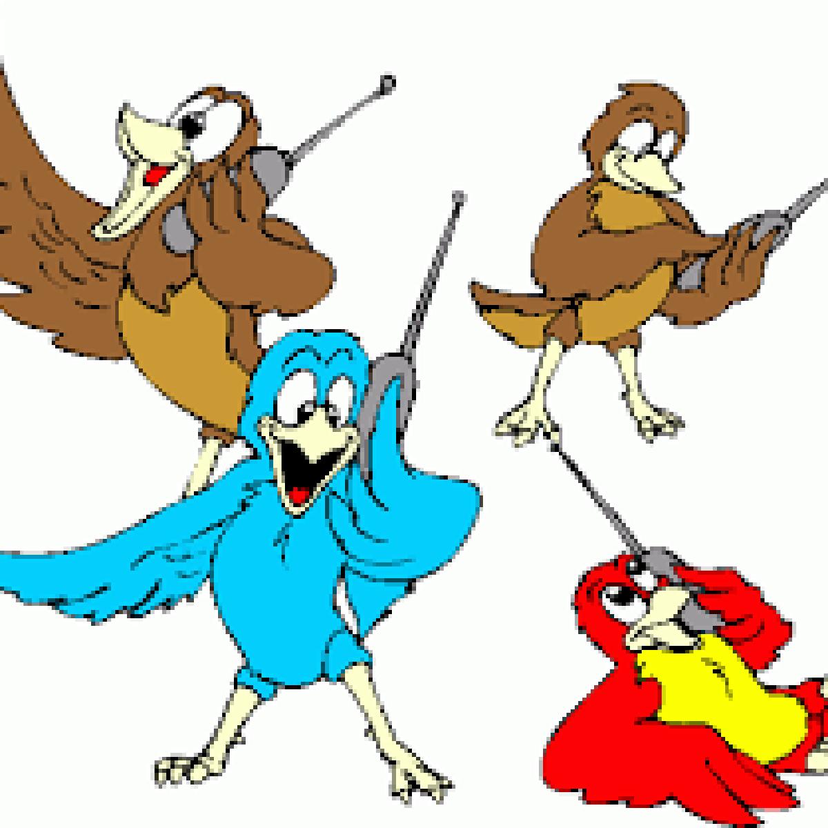 Four calling birds.