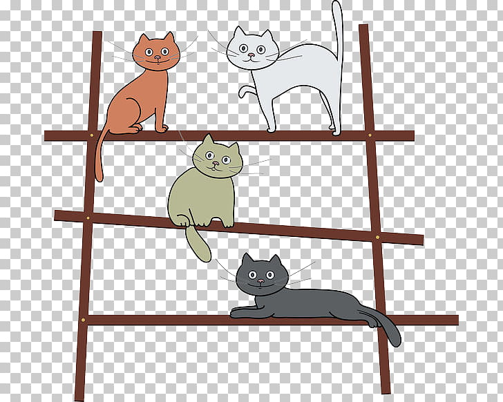 Cat Kitten Illustration, The 4 cats standing on the ladder.