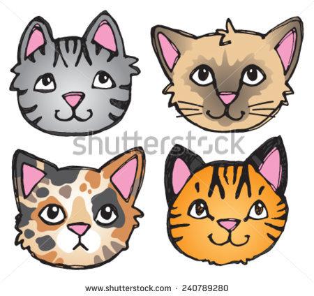 4 Cats Clipart.