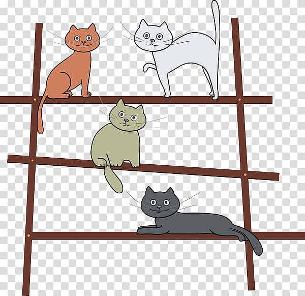 Cat Kitten Illustration, The 4 cats standing on the ladder.