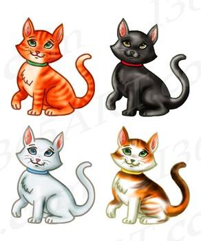 Kitty Cat Clipart Set Feline Hand Drawn Graphics.
