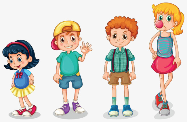 4 Children Clipart.