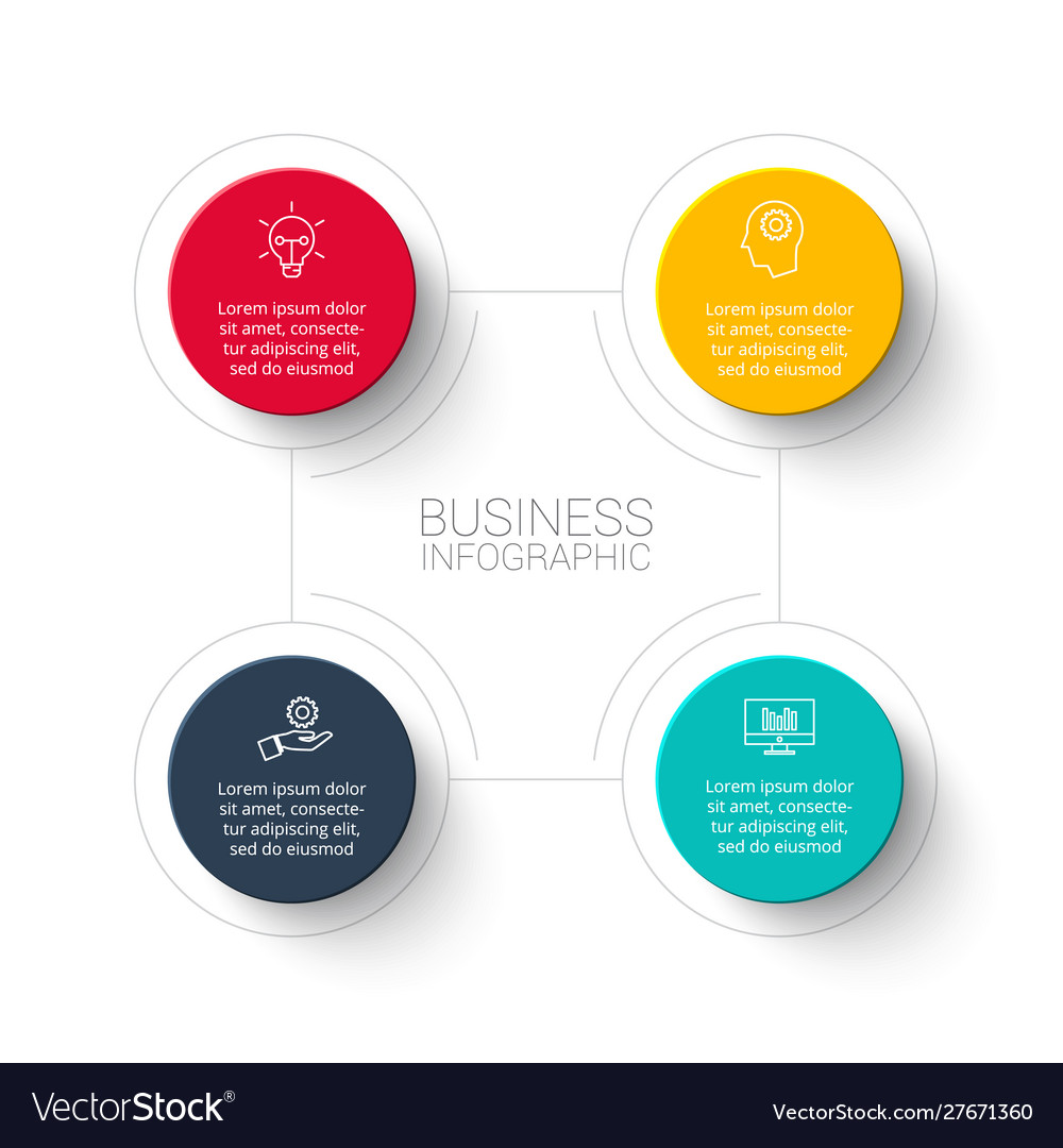 Abstract infographic with 4 circles template for.