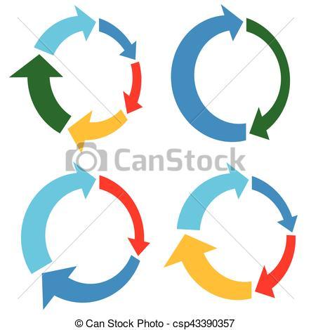 Set of 4 version circular arrow, circle arrow elements.