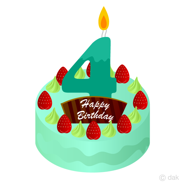 Free 4 Years Old Candle Birthday Cake Clipart Image|Illustoon.