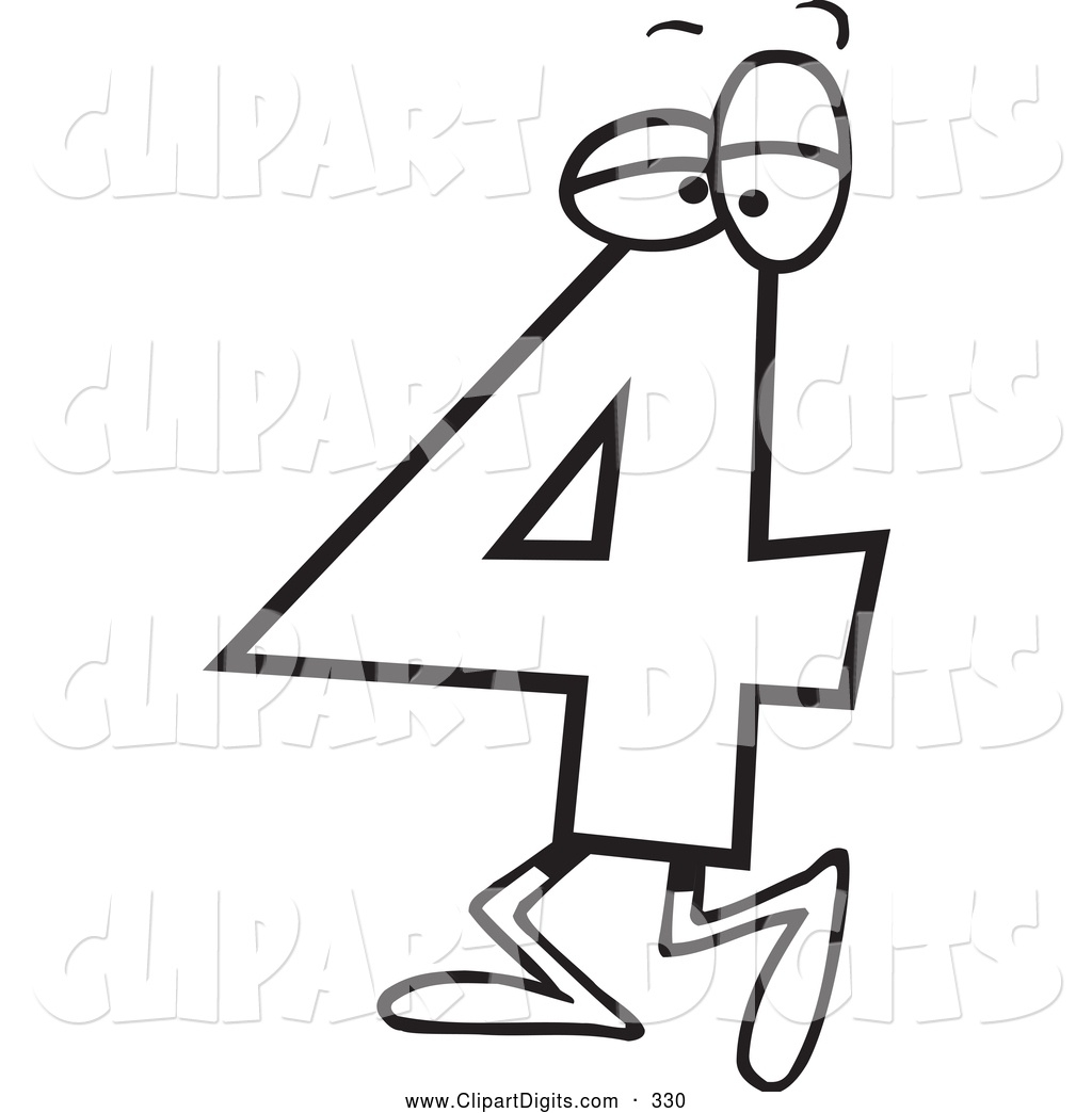 Vector Cartoon Clip Art Of A Black And White Walking Number.