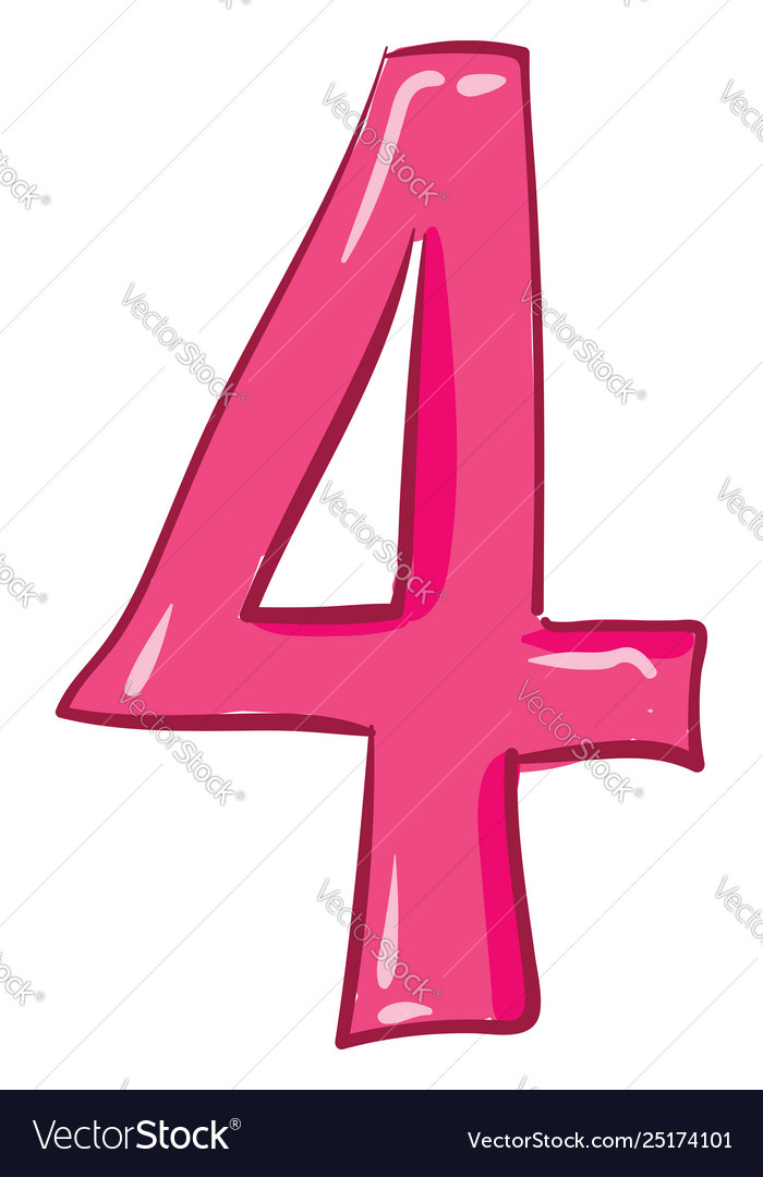 Clipart numerical number four or 4 in pink.