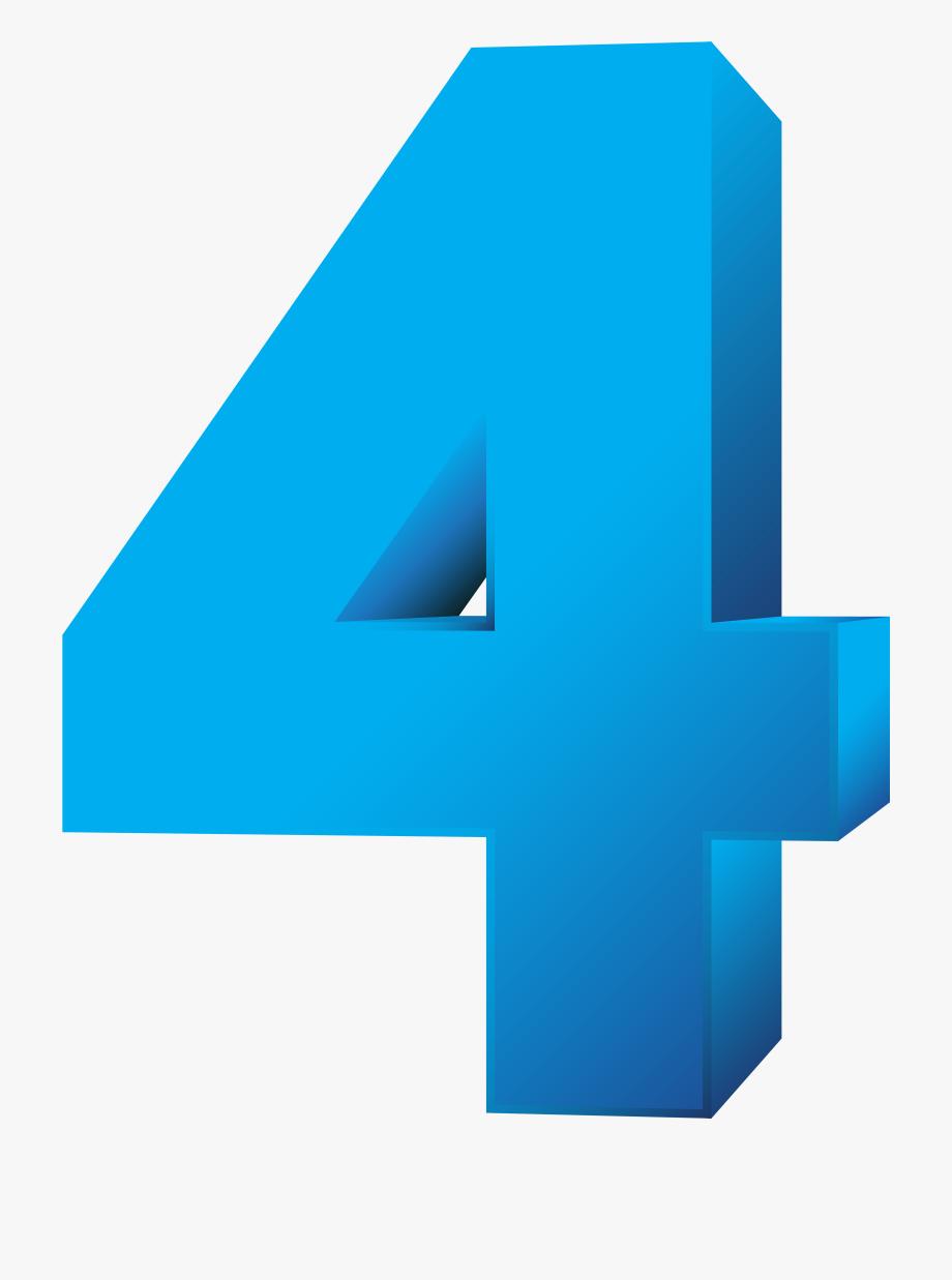 Blue Number Four Transparent Png Clip Art Image.