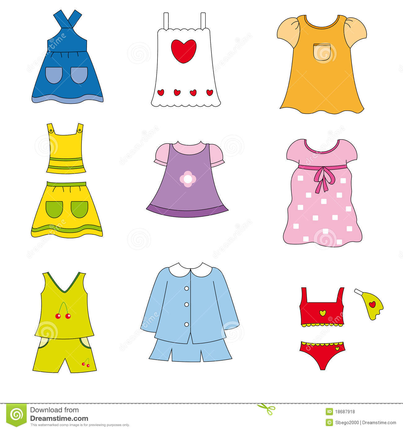 Summer Clothes For Children Clipart.