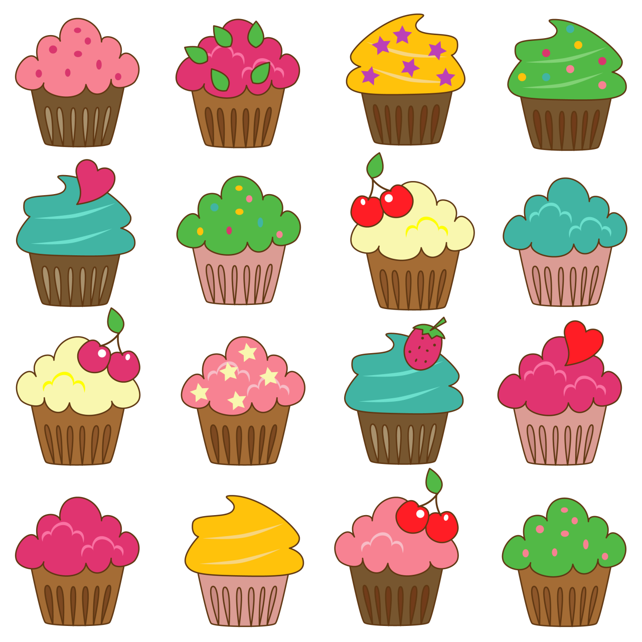 1894 Cupcakes free clipart.