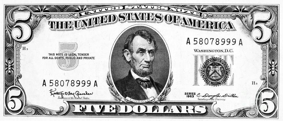 Bills clipart five dollar, Bills five dollar Transparent.