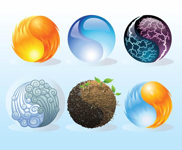 Four Elements Clipart.