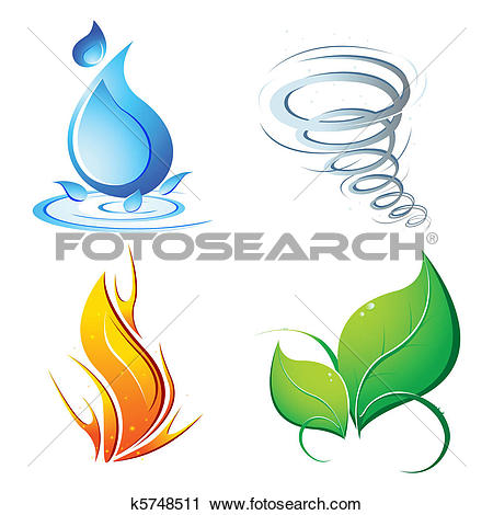 Clip Art of Four elements vector. Nature, flora, fire, air, ground.