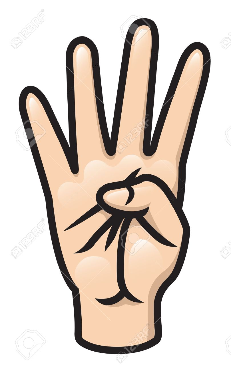 Illustration of a cartoon hand holding up four fingers.