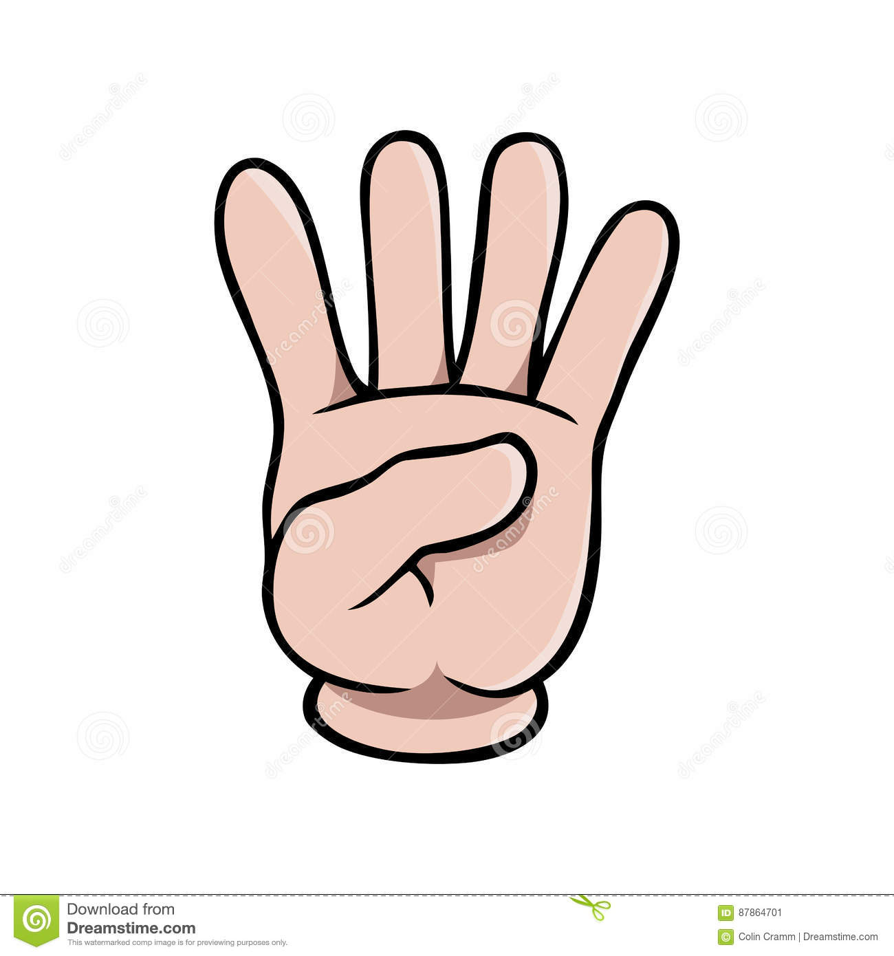 Human Cartoon Hand Showing Four Fingers Stock Vector.