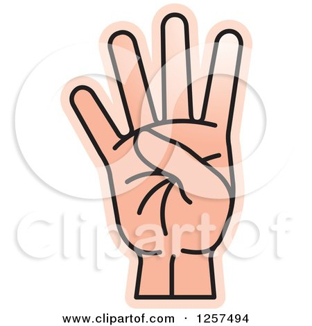 Clipart of a Counting Hand Holding up 4 Fingers, Four in Sign.
