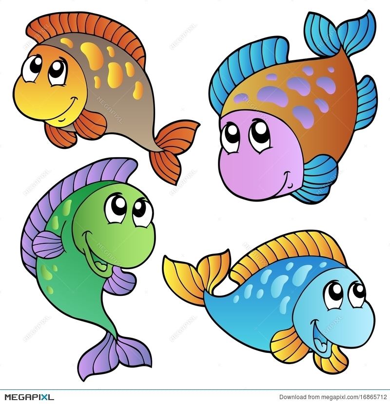 Four Cartoon Fishes Illustration 16865712.