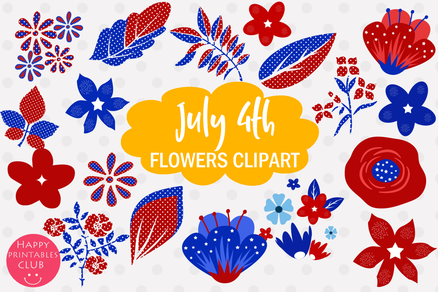 4th July Flowers Clipart.