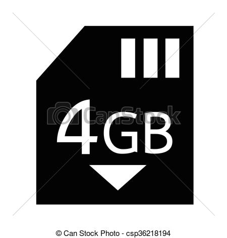 EPS Vectors of Memory Card 4 Gb icon Illustration design.