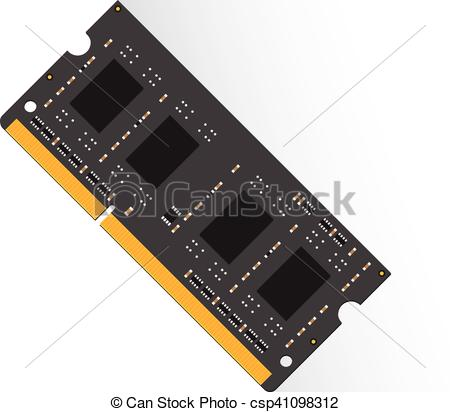 Vector Clip Art of Random Access Memory concept by RAM labtop 4GB.