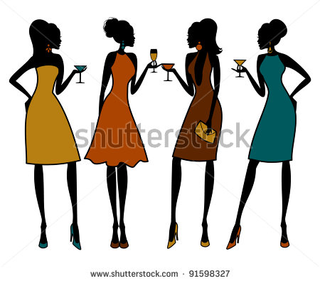 Group Of 4 Girl Friends Clipart.